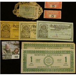 """940 _ Pair of 1857 1957 Newton (Iowa) Centennial Auction Money Scrip; pair of """"Coupon For Paying Tra"""