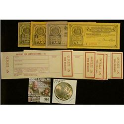 """944 _ Group of unused """"Receipt For Certified Mail---15c""""; Four Piece Set of 1909 State of Missouri G"""
