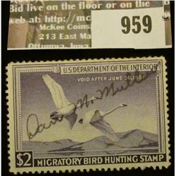 959 _ 1950 RW # 17, One Dollar U.S. Department of Agriculture Migratory Bird Hunting Stamp, with sig