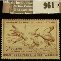 961 _ 1953 RW # 20, Two Dollar U.S. Department of Agriculture Migratory Bird Hunting Stamp, unsigned
