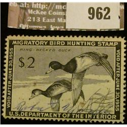 962 _ 1954 RW # 21, Two Dollar U.S. Department of Agriculture Migratory Bird Hunting Stamp, with sig