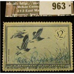 963 _ 1955 RW # 22, Two Dollar U.S. Department of Agriculture Migratory Bird Hunting Stamp, with sig