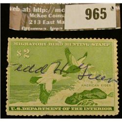 965 _ 1957 RW # 24, Two Dollar U.S. Department of Agriculture Migratory Bird Hunting Stamp, with sig