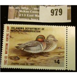 979 _ 1982-83  Oklahoma Department of Wildlife Conservation Waterfowl Hunting $4 Stamp. Mint, unsign