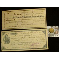 "1010 _ Three-piece ""St. Louis Brewery"" memorabilia from 1890 era. Includes check, receipt, and Token"