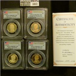 "1013 _ 2015 S ""First Strike Proof Presidential Dollar Coins"" Set in fantastic gold embossed case. Ea"