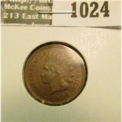 1024 _ 1904 Indian Head Cent, MS 60, Red & Brown.