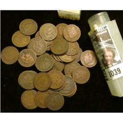 1039 _ 1888 Solid Date Roll of (50) U.S. Indian Head Cents stored in a plastic tube. All solid Good