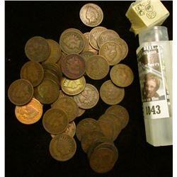 1043 _ 1890 Solid Date Roll of (50) U.S. Indian Head Cents stored in a plastic tube. All solid Good