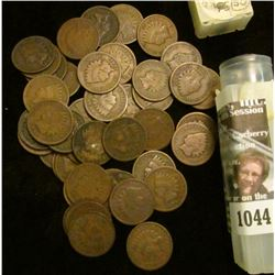 1044 _ 1890 Solid Date Roll of (50) U.S. Indian Head Cents stored in a plastic tube. All solid Good