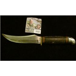 """1117 _ Western Sheath Knife (no sheath) 5"""" blade, banded leather with black and red bands and alumin"""