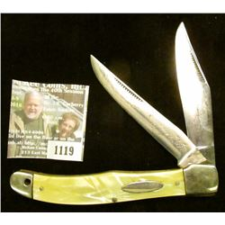 """1119 _ Western Two-blade Folder Knife with 4"""" blades, yellow mother-of-pearl handle, silver-colored"""