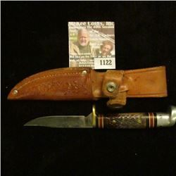 """1122 _ Western Sheath Knife with sheath & 3"""" blade, banded black and red bands with Stag horn and al"""