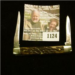 """1124 _ Western Two-blade Folder Knife with 2 1/4"""" blades, Stag horn handle, silver-colored inlay. """"W"""