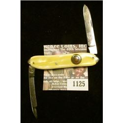 """1125 _ Western Two-blade Folder Knife with 2 1/4"""" blades, yellow mother-of-pearl handle, brass inlay"""