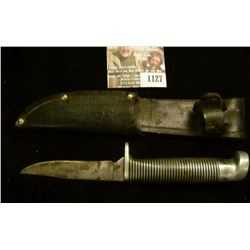 """1127 _ Western Sheath Knife with sheath & 3 1/4"""" blade, banded black with silver-colored bands and a"""