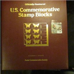 """1136 _ """"Officially-Numbered U.S. Commemorative Stamp Blocks"""" issued by the Postal Commemorative Soci"""