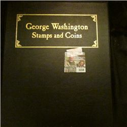 """1154 _ Postal Commemorative Society """"George Washington Stamps and Coins"""" in a special vinyl holder."""