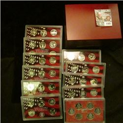 1165 _ Complete 1999-2009 S Silver Proof State Quarter Sets in original plastic cases and a Cherry W