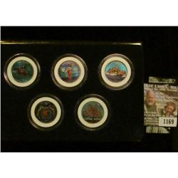 1169 _ 1999 Colorized Statehood Five-Piece Quarter Set in a fancy holder and special box. Each coin