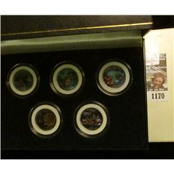 1170 _ 2000 Colorized Statehood Five-Piece Quarter Set in a fancy holder and special box. Each coin