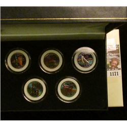 1171 _ 2001 Colorized Statehood Five-Piece Quarter Set in a fancy holder and special box. Each coin