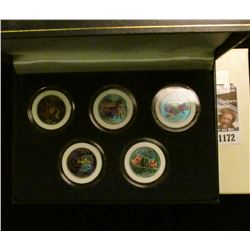 1172 _ 2002 Colorized Statehood Five-Piece Quarter Set in a fancy holder and special box. Each coin