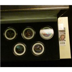 1173 _ 2003 Colorized Statehood Five-Piece Quarter Set in a fancy holder and special box. Each coin
