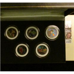 1177 _ 2007 Colorized Statehood Five-Piece Quarter Set in a fancy holder and special box. Each coin