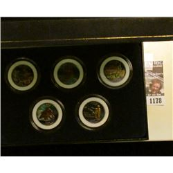 1178 _ 2008 Colorized Statehood Five-Piece Quarter Set in a fancy holder and special box. Each coin