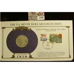 1190 _ 1878 P 7 tail feathers Morgan Silver Dollar in a special protected cover with post marked com
