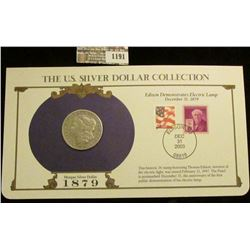 1191 _ 1879 S Morgan Silver Dollar in a special protected cover with post marked commemorative cover