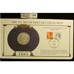 1196 _ 1884 P Philadelphia Mint Morgan Silver Dollar in a special protected cover with post marked c