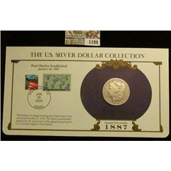 1199 _ 1887 New Orleans Mint Morgan Silver Dollar in a special protected cover with post marked comm