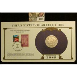 1201 _ 1889 New Orleans Mint Morgan Silver Dollar in a special protected cover with post marked comm