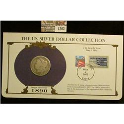 1202 _ 1890 New Orleans Mint Morgan Silver Dollar in a special protected cover with post marked comm