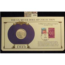 1220 _ 1923 Philadelphia Mint U.S. Peace Silver Dollar in a special protected cover with post marked