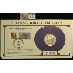 1224 _ 1927 Denver Mint U.S. Peace Silver Dollar in a special protected cover with post marked comme