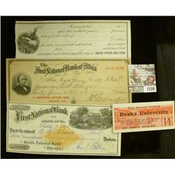 """1256 _ Pair of 1927-28 """"Drake University…reserved seat…"""" tickets; early 1900 Promissory note (unissu"""