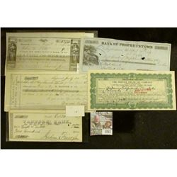 """1257 _ Oct. 24, 1857 Check drawn on """"Tanner' Bank"""" for $200"""" Catskill; """"Bank of Prophetstown, Illino"""