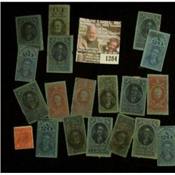 1284 _ Pack of (19) Cigarette Tax Stamps, many over 100 years old.