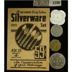 """1286 _ Original """"Get This Genuine Lady Esther Silverware Set For Only 59c"""" Punch card; & (4) Differe"""