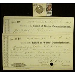 1288 _ Aug. 4, 1877 City of Yonkers, N.Y.Check Payable to John W. Mason by the Treasurer of the Boar