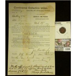 """1289 _ March 19, 1877 Court letter from """"Continental Collection Union…Broadway, N.Y.""""; & 1842 Denmar"""