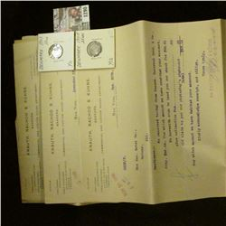 """1290 _ Group of 1908 invoices """"Knauth, Nachod & Kuhne Bankers Commercial and Custom House Department"""