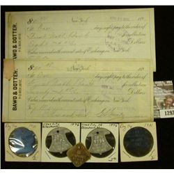 """1292 _ Pair of 1900 era Sight Drafts """"Bawd & Dotter…New York"""", both with Documentary Stamps; & (5) O"""
