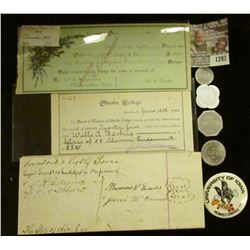 1297 _ 1890 era Columbus, Ohio College Currency Check, Rare and valued by Doc at $30; 1900 Oberling