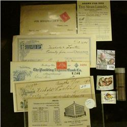 """1298 _ Receipt """"Agent for the Troy Steam Laundry Dayton, Ohio Works""""; 1894 Receipt from Plainsville,"""