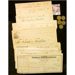 """1300 _ (5) 10c Good in Trade Tokens from """"Helm's/Logan, Iowa""""; Pair of 1891 Receipts Xenia, Ohio sig"""