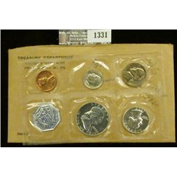 1331 _ 1960 P Large Date U.S. Proof Set in original flat pack and cellophane as issued. (5 pcs.).